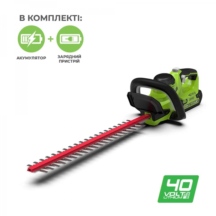 Кусторез аккумуляторный Greenworks G40HT61K2 с АКБ 2 Ah и ЗУ